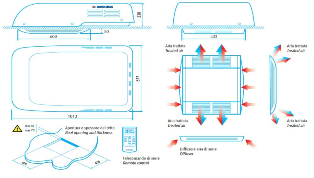 Technical Drawing and Instructions for Air Conditioning Unit for Motorhome